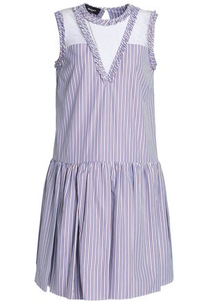 ROCHAS Lace-paneled striped cotton-poplin dress