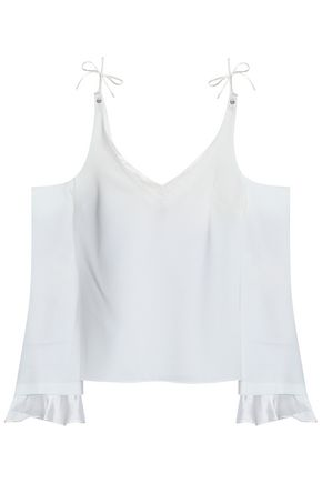 CINQ À SEPT Cold-shoulder ruffle-trimmed crepe blouse