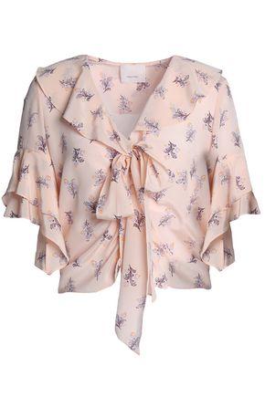 CINQ À SEPT Ivy pussy-bow floral-print silk crepe de chine blouse
