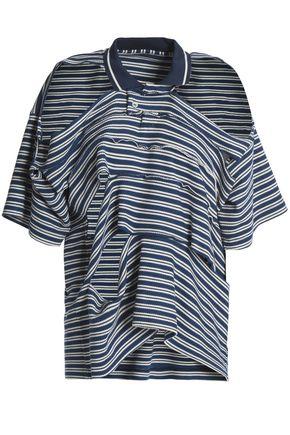 MAISON MARGIELA Cold-shoulder cutout striped waffle-knit cotton top