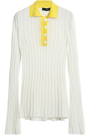 ELLERY Mountain Angel two-tone ribbed linen-blend polo shirt