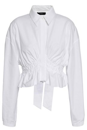 ELLERY Open-back shirred cotton-poplin shirt