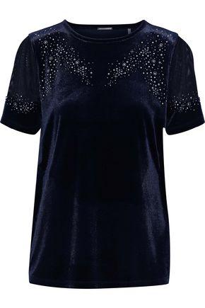 ELIE TAHARI Jadea embellished mesh-paneled velvet top