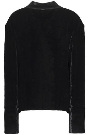 MAISON MARGIELA Open-back satin-trimmed crushed-velvet top