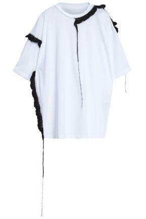 MAISON MARGIELA Mohair-trimmed cotton-jersey top