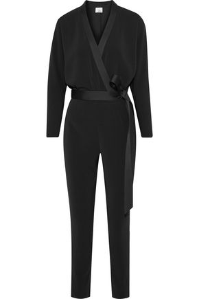 IRIS & INK Penny wrap-effect crepe  jumpsuit