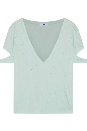 LNA Cutout distressed cotton-jersey T-shirt