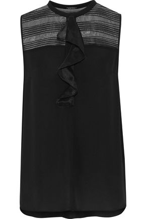 ELIE TAHARI Kia embroidered organza-paneled silk top