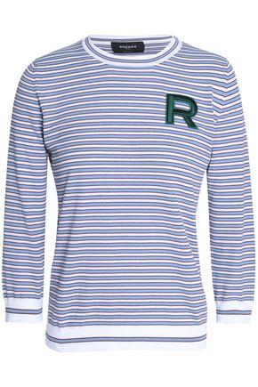 ROCHAS Appliquéd striped cotton top