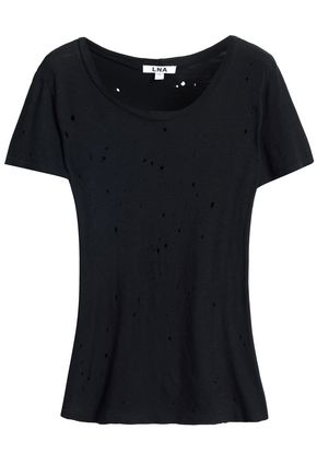 LNA Distressed slub cotton-jersey T-shirt