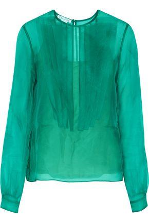 OSCAR DE LA RENTA Pintucked silk-organza blouse