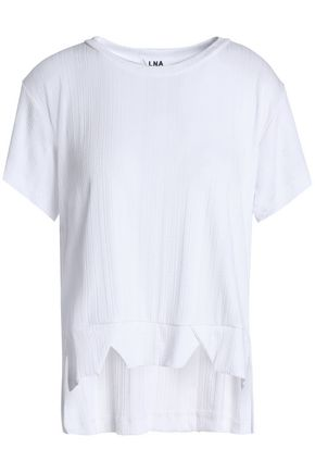 LNA Nomade asymmetric ribbed stretch-jersey T-shirt