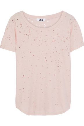 LNA Distressed cotton-jersey T-shirt