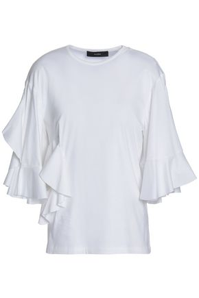ELLERY Cutout ruffled cotton-jersey top