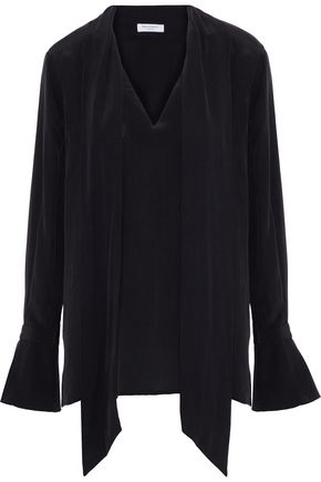 EQUIPMENT Jacqueleen pussy-bow washed-silk blouse