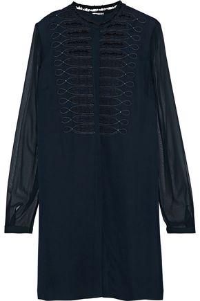 ELIE TAHARI Divitra georgette-paneled embellished silk-crepe blouse