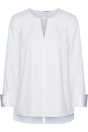 ELIE TAHARI Mishone embellished satin-trimmed cotton-blend twill top