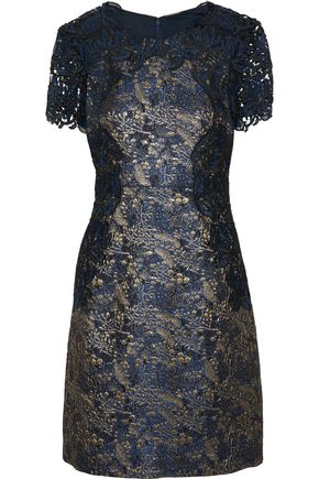 ELIE TAHARI Galina guipure lace-paneled brocade mini dress