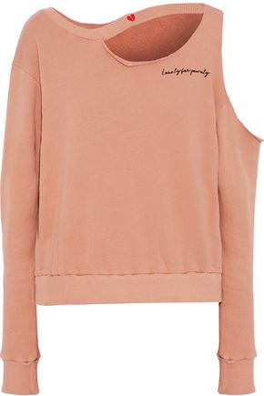 LNA Broken Hearts cutout cotton-fleece sweatshirt