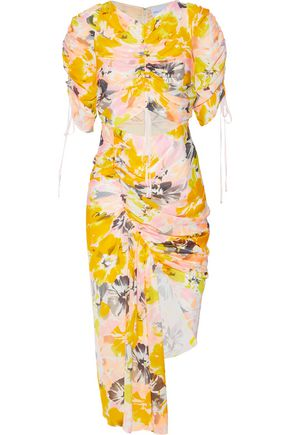 ALICE McCALL Asymmetric cutout floral-print silk dress