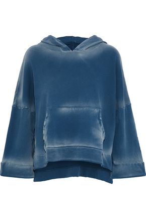 LNA Printed cotton-fleece hooded sweatshirt