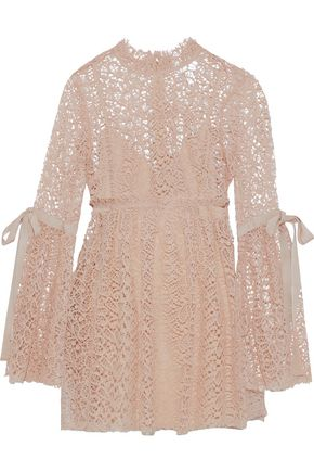 ALICE McCALL Back To You tulle-trimmed guipure lace mini dress
