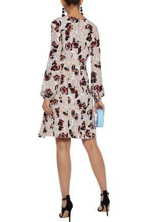OSCAR DE LA RENTA Pleated floral-print silk dress