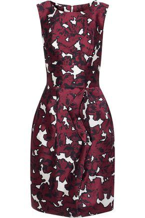 OSCAR DE LA RENTA Pleated printed silk-faille dress