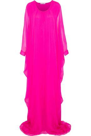 OSCAR DE LA RENTA Draped silk-georgette gown