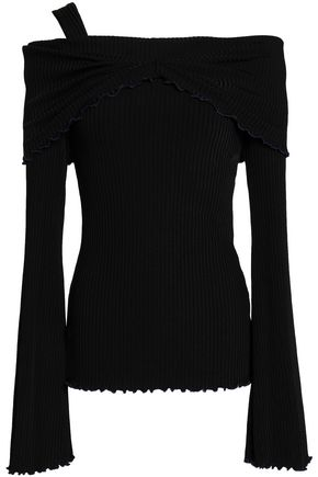 ELLERY Off-the-shoulder ribbed- knit top