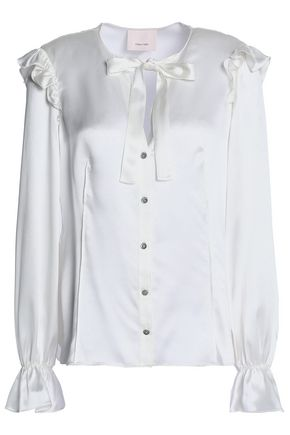 CINQ À SEPT Ruffled bow-embellished silk-satin shirt