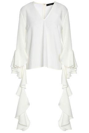ELLERY Draped ruffled crepe blouse