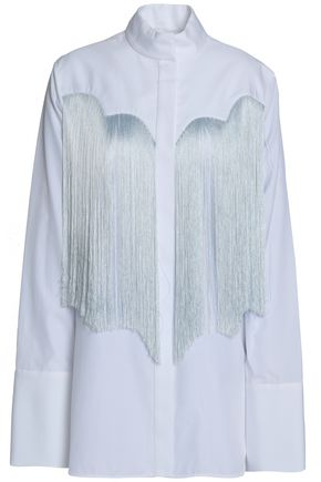 ELLERY Fringed cotton-poplin shirt