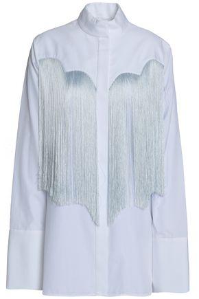 ELLERY Fringed cotton-poplin shirt