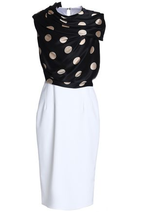 EMILIO de la MORENA Draped polka-dot satin and ponte dress