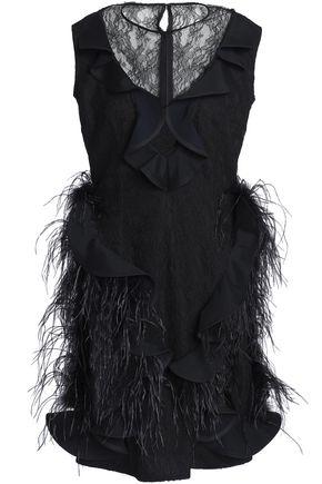 EMILIO de la MORENA Feather-embellished ruffled lace mini dress