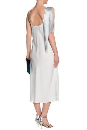 ELLERY Fandango fringed crepe de chine midi dress