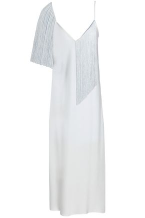 ELLERY Fandango fringed crepe de chine midi dress