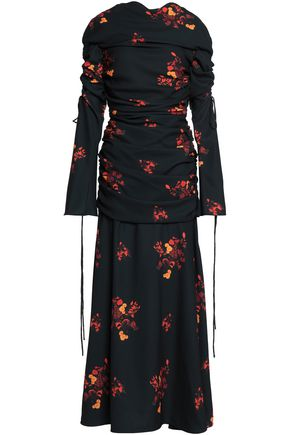 ELLERY Ruched floral-print crepe maxi dress