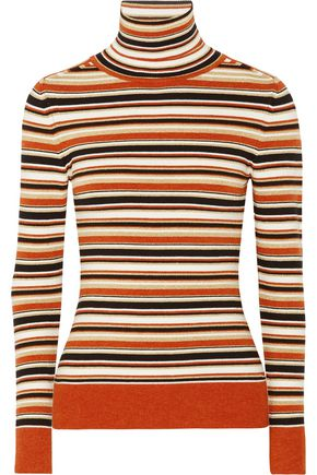 JOOSTRICOT Metallic striped intarsia-knit turtleneck sweater