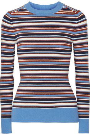 JOOSTRICOT Striped metallic stretch-knit sweater