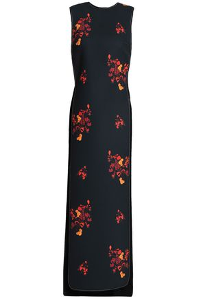 ELLERY Cutout floral-print crepe midi dress