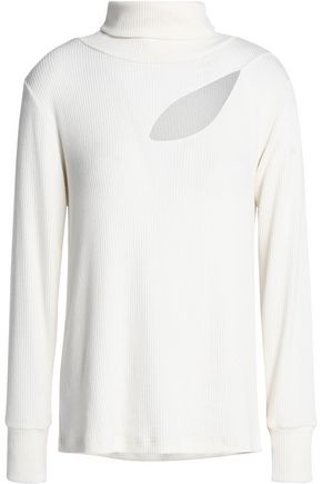 LNA Cutout ribbed modal-blend jersey turtleneck top