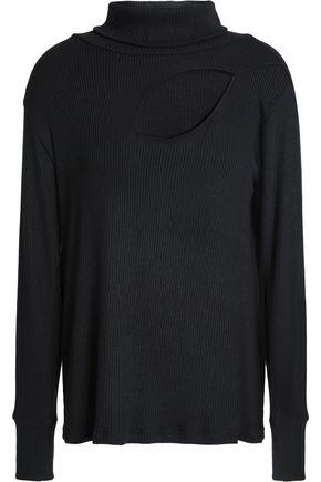 LNA Cutout ribbed modal-blend turtleneck sweater