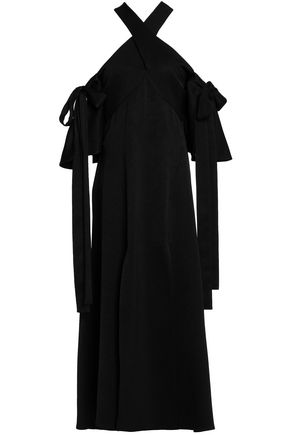ELLERY Cold-shoulder satin-crepe midi dress
