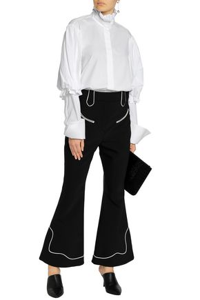 ELLERY Cutout ruffled cotton-poplin shirt