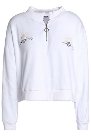 LNA Embroidered cotton-fleece sweatshirt