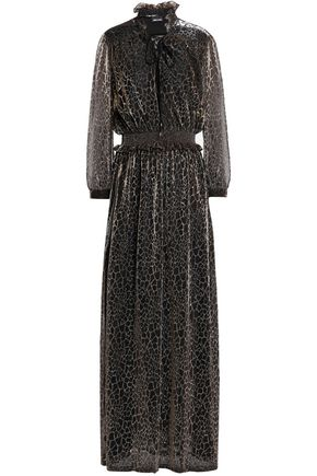 JUST CAVALLI Shirred ruffle-trimmed jacquard gown