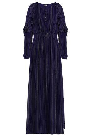 JUST CAVALLI Ruffled metallic-trimmed crepe maxi dress