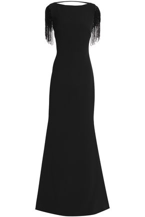 BADGLEY MISCHKA Fringed embellished crepe gown